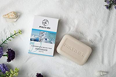 MILENSEA CleoQueen Dead Sea Salt Soap, Organic Face & Body Bar Soap with Mineral Salts for Deep Cleansing, Skin Renewal & Rejuvenation - With Custom Holder Case & Exfoliating Pouch - 4.4 OZ (125g)