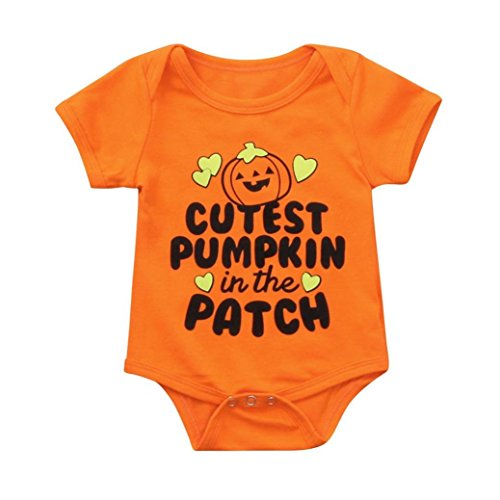 Halloween Baby Boys Girls Onesie Clothes Cartoon Pumpkin and Letter Print Romper Jumpsuit (suit for 18 months(approx), Orange) -