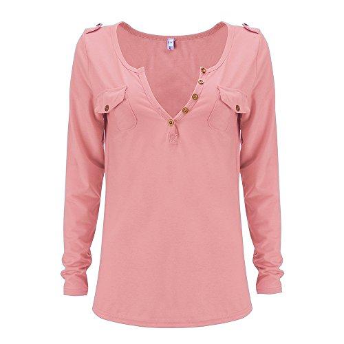 Primavera V Battercake Fit Basic Maniche Lunghe Slim Tinta Unita T Con Bottoni Magliette Donna Elegante Rosso Donne Shirt Top Casuale Scollo Maglietta Casual Moda SSRCxfqw