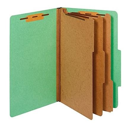 Colored Pressboard Classification Folders, Legal, 3 Partitions, Green, 20/Pack (614417)