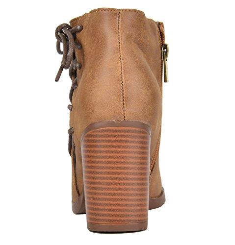 TOETOS Damen Chicago Chunky Heel Ankle Booties Tan-1