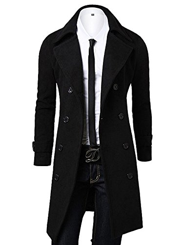 OCHENTA Men's Double Breasted Turn Down Collar Slim Woolen Overcoat Black Asian 3XL - US XL