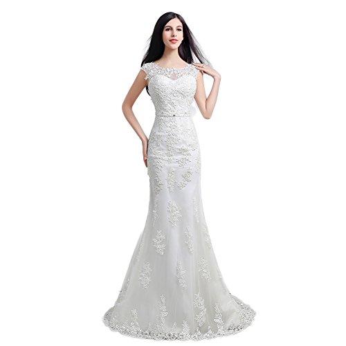 Engerla Women's Sheer Lace Straps Sheath Train Wedding Dress White ()