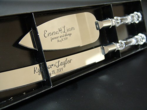 (Personalized Wedding Cake Knife and Server Set with Faux Crystal Handles (stainless steel silver in)