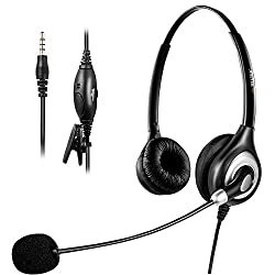 Arama Cell Phone Headset, 3.5mm Phone Headset With Noise Cancelling Boom Mic for iPhone Mac Samsung Blackberry Mobile Phone and most Smartphones