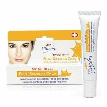 (Vincere Facial Sunblock Cream Spf50/pa+++ 15 Ml.(Thank you kindly by AGB