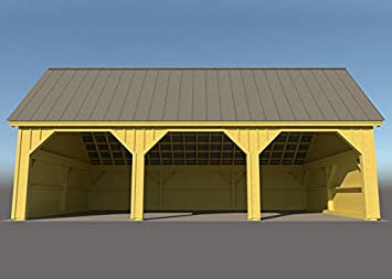 24 x 36 Marco de madera Post & Beam Equipment Shed Plans/Garage ...