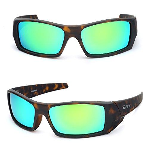Mens Italian - B.N.U.S Unisex Ranger Rectangular Sports Sunglasses Polarized for men womens Italian made Corning natural glass lenses (Frame: Matte Tortoise/Lens: Green Flash, Polarized)
