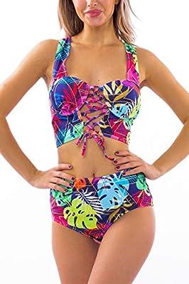 RIGHR Women's Lace Up Swimsuit Halter Criss Cross Swimwear Strappy Bikini Set