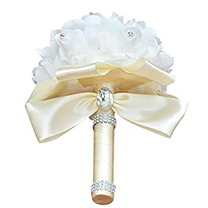 FILOL Wedding Bridal Roses Bouquet Crystal Pearl Silk Roses Royal Blue Bridal Bridesmaid Hand Flowers Wedding,Engagement Valentines Day Decor (Beige) 54