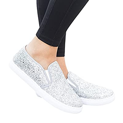Womens Glitter Slip On Flatform Loafers Fashion Sneakers Walking Flats Shoes | Loafers & Slip-Ons