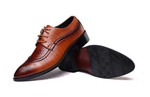 JOYTO Business Herren Anzugschuhe, Lederschuhe Schuhe Schnürhalbschuhe Oxford Smoking Lackleder Hochzeit Derby Männer Leder Brogue Schwarz Braun 37-48 Gelb
