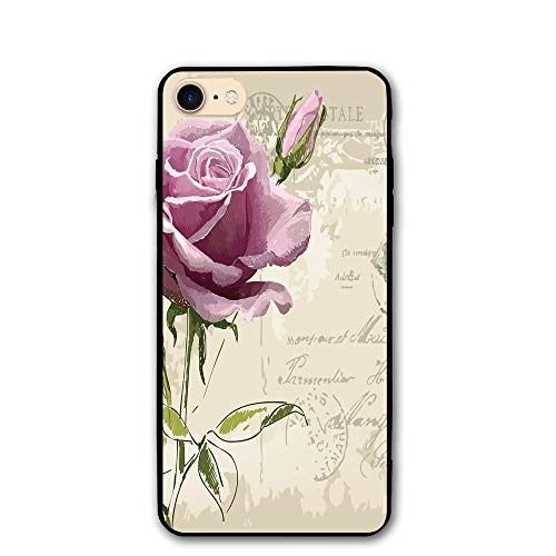 Haixia iPhone 7/8 Cover Case 4.7 Inch Rose Vintage Postcard Design with Delicate Rose Blossom Hand Drawing Artsy Print Decorative Tan Pale Pink Green