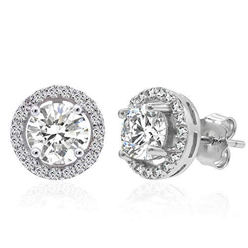 (Rhodium Plated 925 Sterling Silver Cubic Zirconia Classic Halo Round Brilliant Cut Stud Earrings Main Stone 6mm)