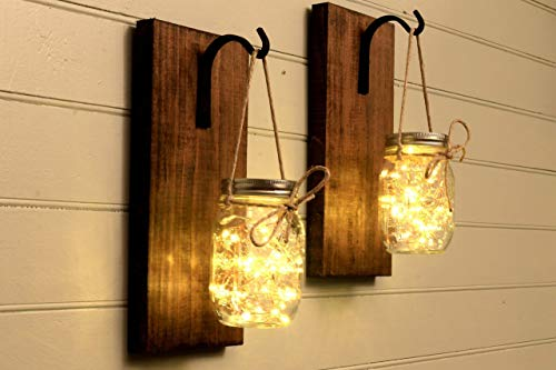 Rectangular Candle Sconce - Mason Jar Sconce Mason Jar Decor Wall Sconce Mason Jar Wall Decor Rustic Decor Set Of 2