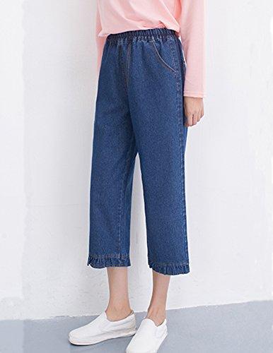 Jeans Eleganti Tasche Taglie Elastico Casual Laterali Donna Blu Pantaloni Forti Palazzo Marino FwXntFq8x