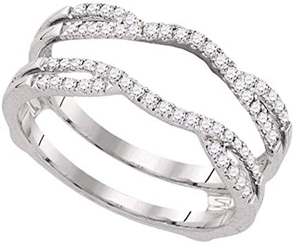 Ritika Created Round Cut White Diamond 14K White Gold Over 925 Sterling Silver Channel Set Wrap Guard Enhancer Ring for Women