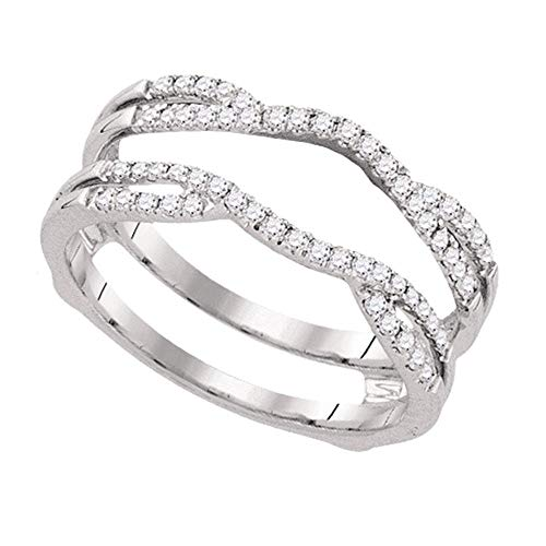 - Jewel Tie - Size 10.5 - Solid 14k White Gold Round Diamond Bridal Wedding Enhancer Band Wrap Ring (1/3 Cttw.)