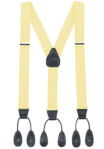 Hold'Em Suspender for Men Made in USA Y-Back Genuine Leather Trimmed button end tuxedo suspenders Many colors and designs - Banana (Regular, 46