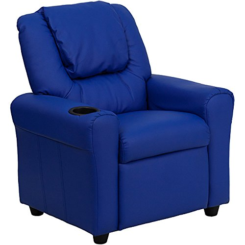 Contemporary Blue Vinyl Kids Recliner with Cup Holder and Headrest by Flash Furniture, 21.5 x 24 x 27