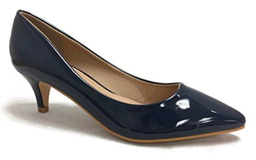 Coshare Women's Fashion Patent Aubree-16 Front Low Heel Pumps, Plain Navy, 7 ()