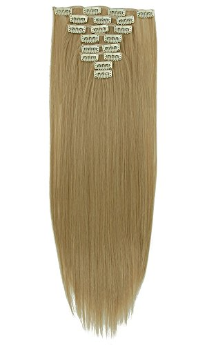 "S-noilite 17-26 Inches(43-66cm) 8pcs Long Full Head Clip in Hair Extensions Sexy Lady Fashion Choice 13 Colors (26""-Straight, Ash Blonde Mix Bleach Blonde)"