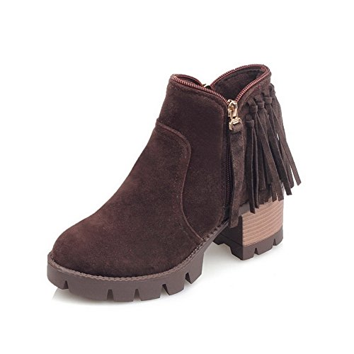 Ladola Womens Chunky Heels Tassels Platform Brown Imitated Leather Boots - 6.5 B(M) - The Short Mall Hills Of