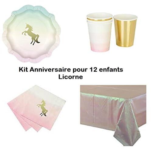 Kit Licorne 12 enfants Complet Anniversaire (12 assiettes, 12 gobelets, 16 serviettes, 1 nappe) fête féérique princesse