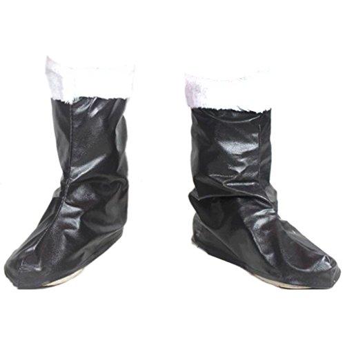 【ノーブランド 品】クリスマス コスプレ サンタクロース 仮装 コスチューム ブーツ 靴 フェイクファー付き アクセサリー ブラック