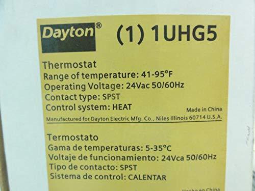 Dayton 1UHG5 Thermostat, 45-95 Deg F, 24VAC, SPST - - Amazon.com