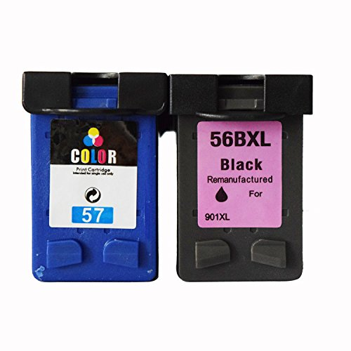 ouguan® Sustitución del cartucho de tinta para HP 56& HP 57,1Negro, 1color, 2pack