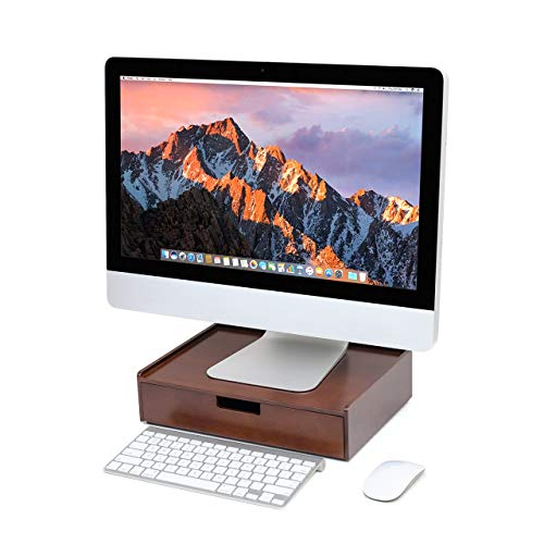 Wood Drawer Large, Monitor Stand & Stackable Storage Solution for Office Products pens, Pencils, Scissors, notepads, Business Cards and More ()