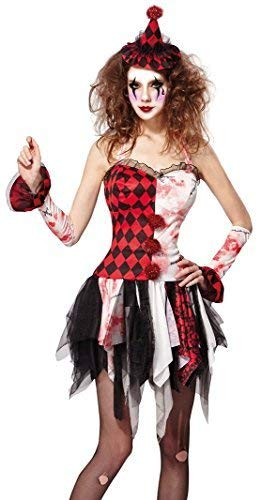 Ladies Sexy Dead Zombie Jester Killer Scary Clown Halloween Circus Fancy Dress Costume Outfit UK 10-12-14 -
