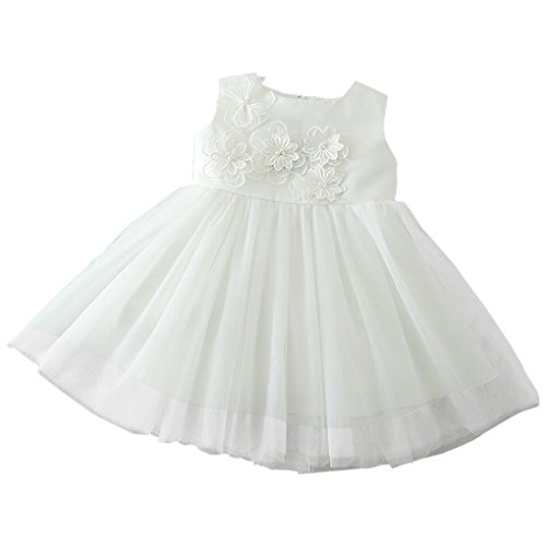 Romping House Newborn Baby Girls Sleeveless Embroidered Flowers Christening Gown Layered Tulle Baptism Dress White Size 3M - White Satin Christening Gown