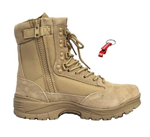 Tactical Boot mit YKK-Zipper + AOS-Outdoor® Schlüsselanhänger 3 Farben desert, braun oder schwarz Wanderstiefel Khaki