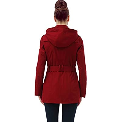 BGSD Women's Evelyn Classic Hooded Short Trench Coat: Clothing
