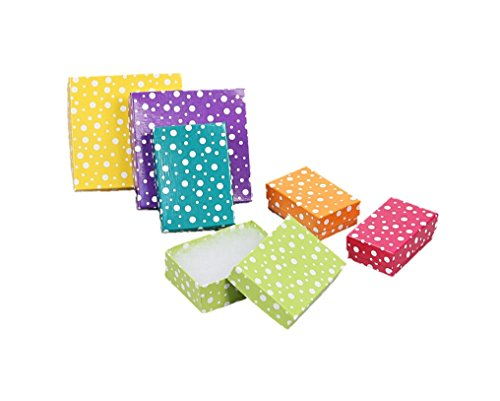 "888 Display USA - Multi Color Polka Dot Jewelry Gift Packaging Cotton Filled Box (20, 3 ¼"" x 2 ¼"" x 1""H) (Promotional Gift Box)"