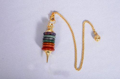 Chakra Donut Stone Pendulum Healing Dowsing Chakra Balancing Reiki Peace Gift w/ Pouch New Age Esoteric Healing Divination