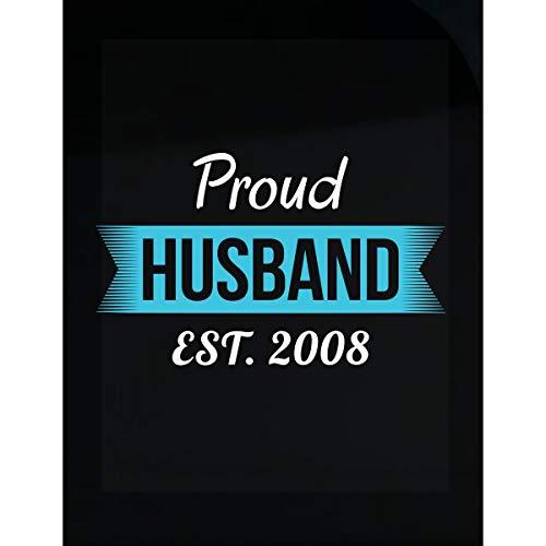 Proud Husband Est 2008 Funny 10th Transparent -