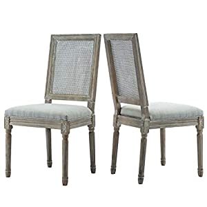 ZHENGHAO French Country Rectangle Cane Back Dining Chairs Set of 2, Farmhouse Retro Kitchen Chairs, Distressed Wood…