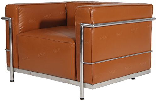 MLF Le Corbusier Style LC3 Grande Armchair Sofa, Light Brown Premium Aniline Leather