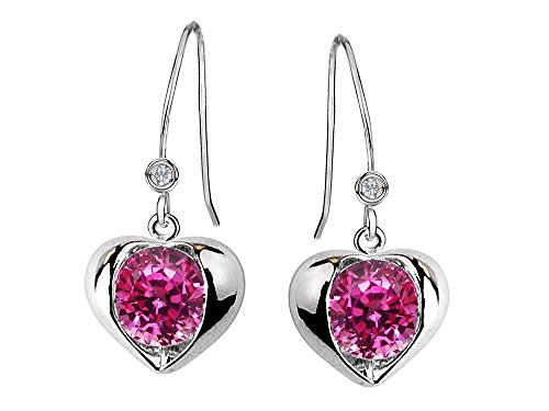 ated Pink Sapphire Heart Hook Earrings Sterling Silver (Created Pink Sapphire Heart)