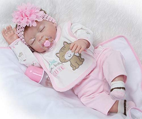 "22/"" Full Body Silicone Baby Reborn Dolls Toddler Girl Realistic Newborn Babies"