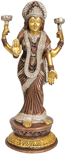 Exotic India Goddess Lakshmi Wearing a Saree in The Contemporary Style - Brass Statue - Color Brown Silver Gold Color