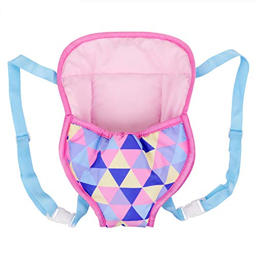 Ecore Fun Baby Doll Carrier Backpack Doll Accessories Front and Back Sling with Straps for 14 Inch to 18 Inch Dolls Like Bitty Baby Doll, American 18 Inch Girl Doll, Generation Doll