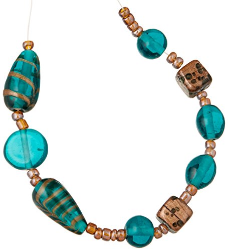 (Cousin Jewelry Basics Glass Bead Mix, Teal and Gold Swirl, 9-Pack)