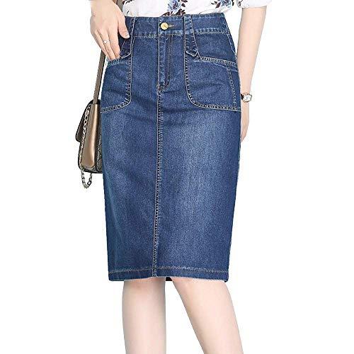large Dimensione Gonna Forcella In Blu Autunno 2018 Alta E Jeans Metà Blu Lungo Vita Con Denim A Divisa Fuweiencore colore Di X 8BnW5x