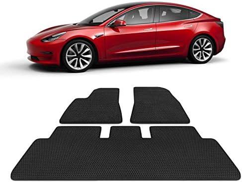 Heavy Duty TOPlight Tesla Model 3 Rear Trunk Mat All Weather Waterproof Storage Mats Set 2 Piece Set Black Rubber Environmental Materials Cargo Mat Trunk Liner for Tesla Model 3