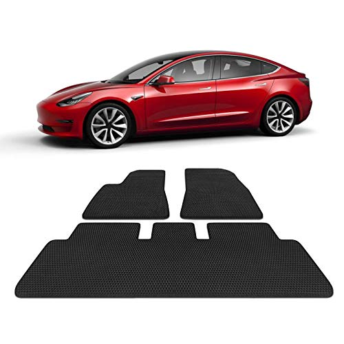 TOPlight Tesla Model 3 All Weather Waterproof Floor Mats Set 3 Piece Set - Heavy Duty - Black Rubber Environmental Materials Car Carpet for Tesla Model 3