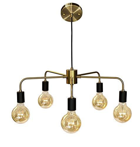 Bauhaus Minimalist latón araña con grandes filamento Vintage LED Bombillas. Longitud total 160 cm (ajustable).: Amazon.es: Iluminación